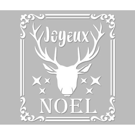Pochoir Adhesif 25 X 20 Cm Cadre Stylise Joyeux Noel Cerf
